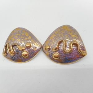 Jewelry - Funky Vintage Ceramic Metallic Glaze Earrings